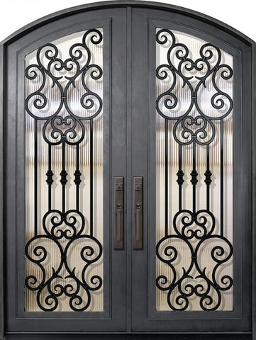 WDMA 72x96 Door (6ft by 8ft) Exterior 96in Marbella Full Lite Arch Top Double Wrought Iron Entry Door 1