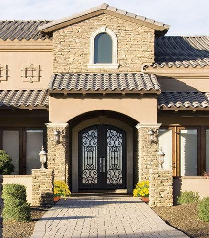 WDMA 72x96 Door (6ft by 8ft) Exterior 96in Marbella Full Lite Arch Top Double Wrought Iron Entry Door 2