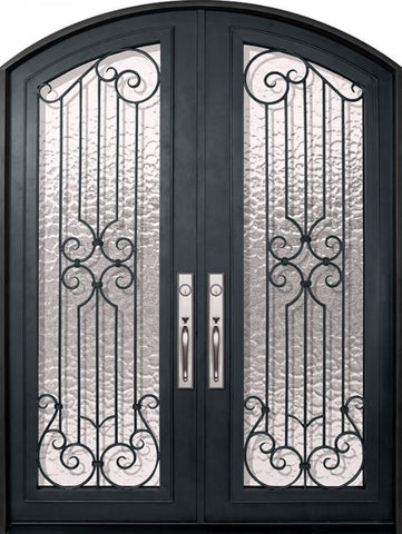 WDMA 72x96 Door (6ft by 8ft) Exterior 96in Milano Full Lite Arch Top Double Wrought Iron Entry Door 1