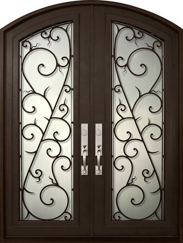 WDMA 72x96 Door (6ft by 8ft) Exterior 96in Bellagio Full Lite Arch Top Double Wrought Iron Entry Door 1