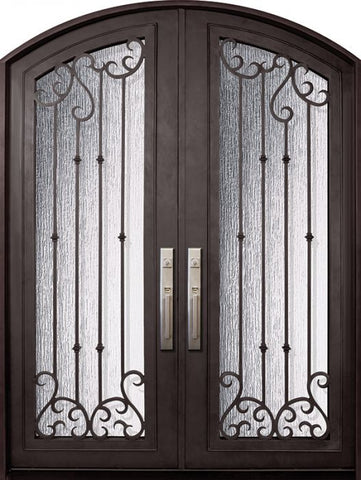 WDMA 72x96 Door (6ft by 8ft) Exterior 96in Valencia Full Lite Arch Top Double Wrought Iron Entry Door 1