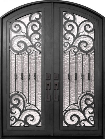 WDMA 72x96 Door (6ft by 8ft) Exterior 96in Barcelona Full Lite Arch Top Double Wrought Iron Entry Door 1