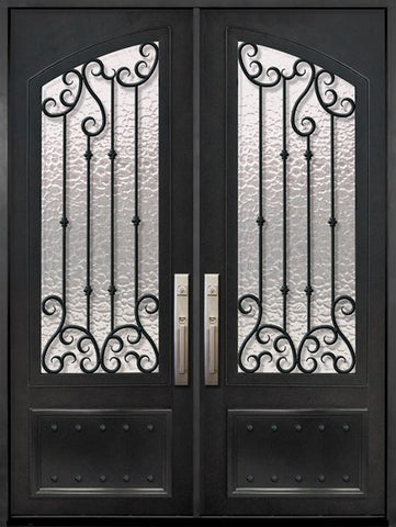 WDMA 72x96 Door (6ft by 8ft) Exterior 96in Valencia 3/4 Arch Lite Double Wrought Iron Entry Door 1