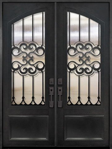 WDMA 72x96 Door (6ft by 8ft) Exterior 96in Tivoli 3/4 Arch Lite Double Wrought Iron Entry Door 1