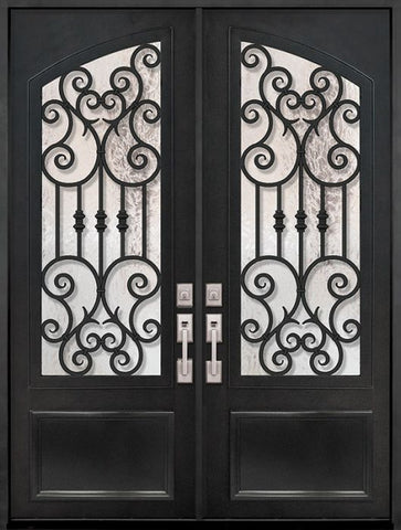 WDMA 72x96 Door (6ft by 8ft) Exterior 96in Marbella 3/4 Arch Lite Double Wrought Iron Entry Door 1