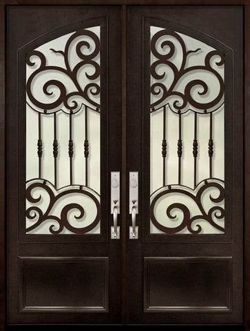 WDMA 72x96 Door (6ft by 8ft) Exterior 96in Barcelona 3/4 Arch Lite Double Wrought Iron Entry Door 1