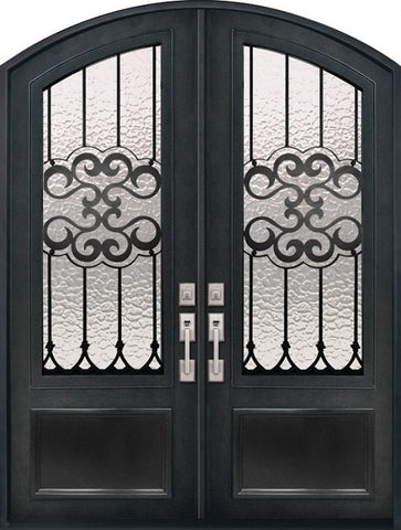 WDMA 72x96 Door (6ft by 8ft) Exterior 96in Tivoli 3/4 Lite Arch Top Double Wrought Iron Entry Door 1