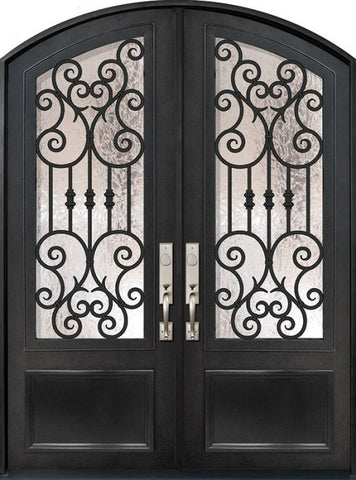 WDMA 72x96 Door (6ft by 8ft) Exterior 96in Marbella 3/4 Lite Arch Top Double Wrought Iron Entry Door 1