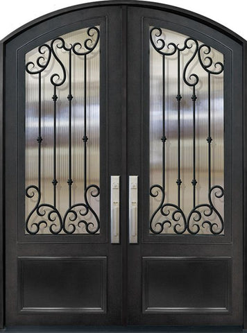WDMA 72x96 Door (6ft by 8ft) Exterior 96in Valencia 3/4 Lite Arch Top Double Wrought Iron Entry Door 1