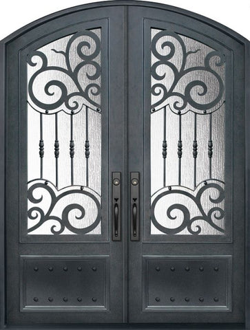 WDMA 72x96 Door (6ft by 8ft) Exterior 96in Barcelona 3/4 Lite Arch Top Double Wrought Iron Entry Door 1