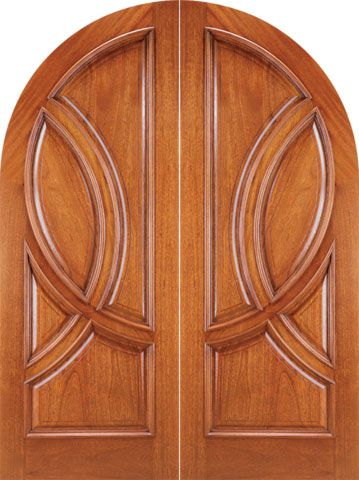 WDMA 72x96 Door (6ft by 8ft) Exterior Mahogany Round Top Solid Double Doors 1