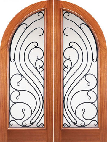 WDMA 72x96 Door (6ft by 8ft) Exterior Mahogany Double Doors Round Top Solid Full Lite Forged Iron 1