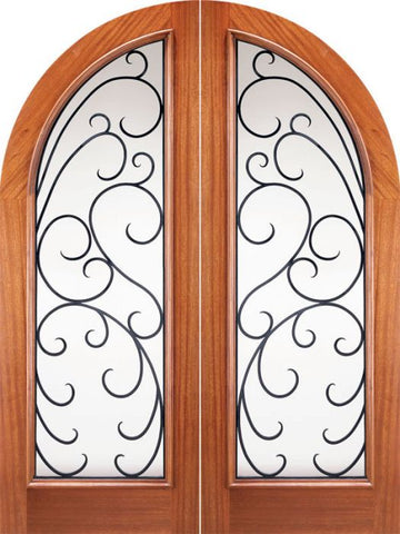 WDMA 72x96 Door (6ft by 8ft) Exterior Mahogany Round Top Full Lite Double Doors Forged Iron 1