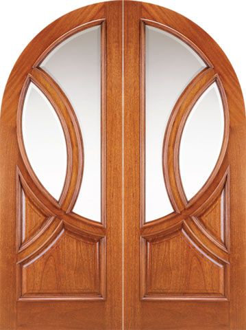 WDMA 72x96 Door (6ft by 8ft) Exterior Mahogany Round Top Solid Double Doors with Glass 1