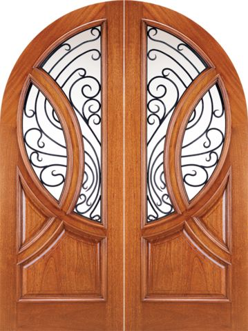 WDMA 72x96 Door (6ft by 8ft) Exterior Mahogany Round Top Solid Double Doors with Forged Iron 1