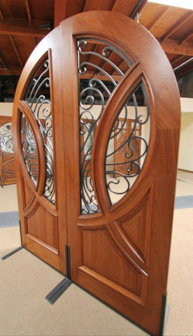 WDMA 72x96 Door (6ft by 8ft) Exterior Mahogany Round Top Solid Double Doors with Forged Iron 4