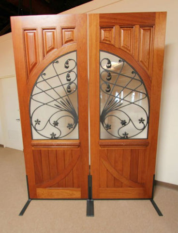WDMA 72x96 Door (6ft by 8ft) Exterior Mahogany Solid Double Doors Old World Forged Iron 3