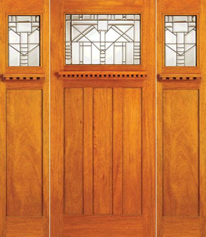 WDMA 78x80 Door (6ft6in by 6ft8in) Exterior Mahogany Craftsman Style Single Door and Two Sidelights 1