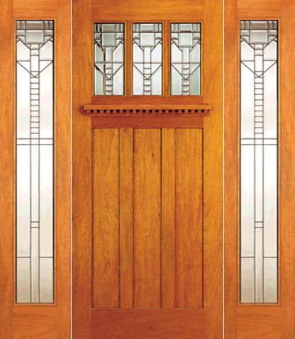 WDMA 78x80 Door (6ft6in by 6ft8in) Exterior Mahogany Craftsman Style Door and Two Full Lite Sidelights 1