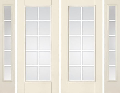 WDMA 80x80 Door (6ft8in by 6ft8in) French Smooth F-Grille Colonial 10 Lite Star Double Door 2 Sides 5 Lite 1