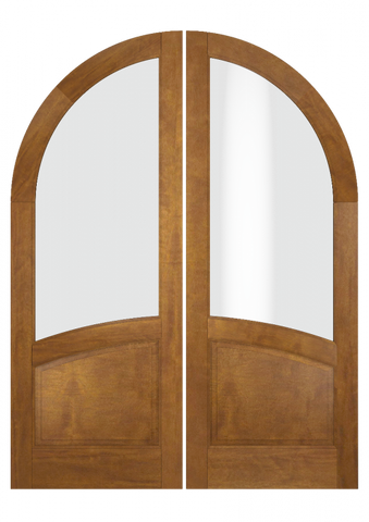 WDMA 84x80 Door (7ft by 6ft8in) Interior Swing Mahogany Round Top 1 Lite 1 Panel Transitional Home Style Exterior or Double Door 2