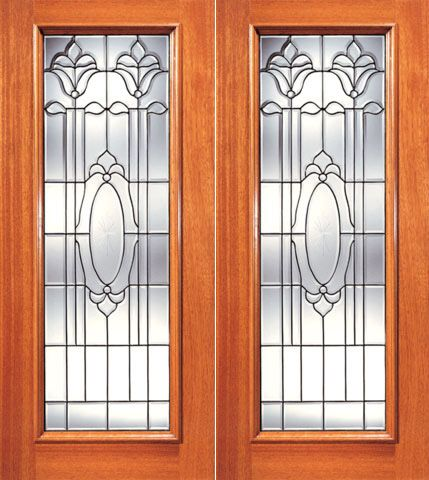 WDMA 84x80 Door (7ft by 6ft8in) Exterior Mahogany Full Lite Twin Flower Design Glass Double Door 1