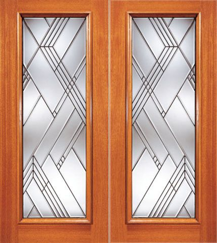 WDMA 84x80 Door (7ft by 6ft8in) Exterior Mahogany Modern Beveled Glass Entry Double Door Triple Glazed Glass Option 1
