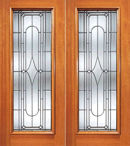 WDMA 84x80 Door (7ft by 6ft8in) Exterior Mahogany Art Deco Beveled Glass Entry Double Door Triple Glazed Glass Option 1