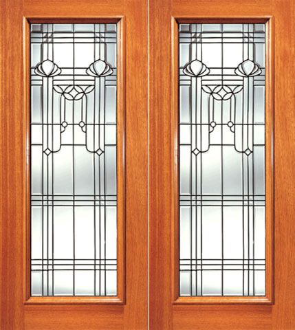 WDMA 84x80 Door (7ft by 6ft8in) Exterior Mahogany Full Lite Contemporary Design Glass Double Door 1