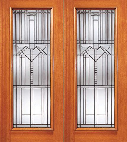 WDMA 84x80 Door (7ft by 6ft8in) Exterior Mahogany Decorative Beveled Glass Entry Double Door Triple Glazed Glass Option 1