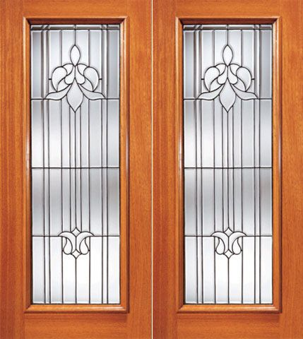 WDMA 84x80 Door (7ft by 6ft8in) Exterior Mahogany Tulip Design Beveled Glass Double Door Triple Glazed Glass Option 1