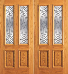 WDMA 84x80 Door (7ft by 6ft8in) Exterior Mahogany Double Door Twin Lite Insulated Beveled Glass 1