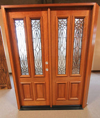WDMA 84x80 Door (7ft by 6ft8in) Exterior Mahogany Double Door Twin Lite Insulated Beveled Glass 3