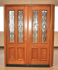 WDMA 84x80 Door (7ft by 6ft8in) Exterior Mahogany Double Door Twin Lite Insulated Beveled Glass 4