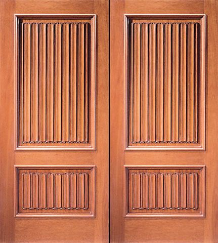WDMA 84x80 Door (7ft by 6ft8in) Exterior Mahogany Colonial Double Door Hand Carved 2-Panel in  1