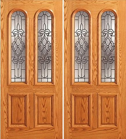 WDMA 84x80 Door (7ft by 6ft8in) Exterior Mahogany Twin Lite Arch Lite Front Double Door Insulated Glass 1