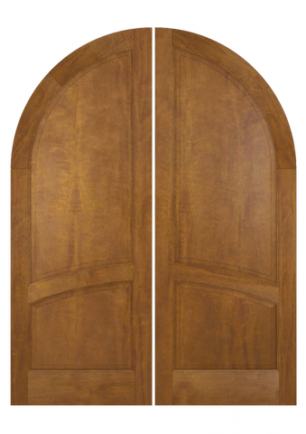 WDMA 84x80 Door (7ft by 6ft8in) Exterior Swing Mahogany 2/3 Round Top 2 Panel Solid Transitional Home Style or Interior Double Door 2