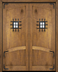 WDMA 84x80 Door (7ft by 6ft8in) Exterior Barn Mahogany Arch Top 2 Panel Rustic-Old World or Interior Double Door with Speakeasy and Corner Straps 2