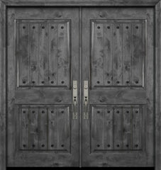 WDMA 84x80 Door (7ft by 6ft8in) Exterior Knotty Alder 42in x 80in Double 2 Panel Square V-Grooved Estancia Alder Door with Clavos 1