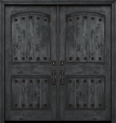 WDMA 84x80 Door (7ft by 6ft8in) Exterior Knotty Alder 42in x 80in Double Arch 2 Panel V-Grooved Estancia Alder Door with Clavos 1