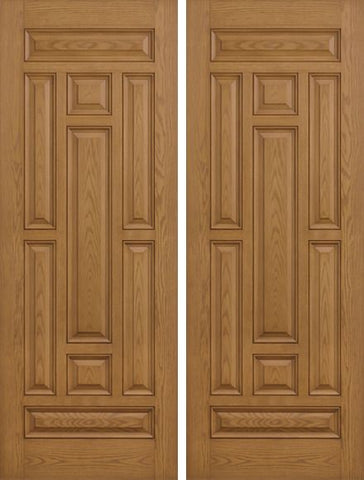 WDMA 84x80 Door (7ft by 6ft8in) Exterior Oak 8ft 9 Panel Classic-Craft Collection Double Door Clear Low-E 1