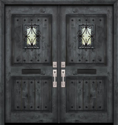 WDMA 84x80 Door (7ft by 6ft8in) Exterior Knotty Alder 42in x 80in Double 2 Panel Square V-Grooved Estancia Alder Door with Speakeasy / Clavos 1