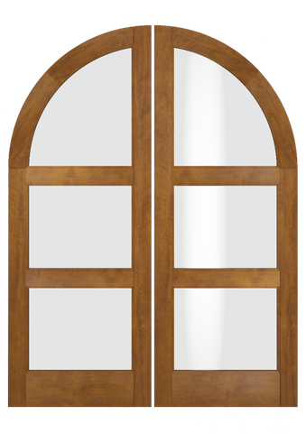 WDMA 84x84 Door (7ft by 7ft) Interior Swing Mahogany Round Top 3 Lite Transitional Home Style Exterior or Double Door 2
