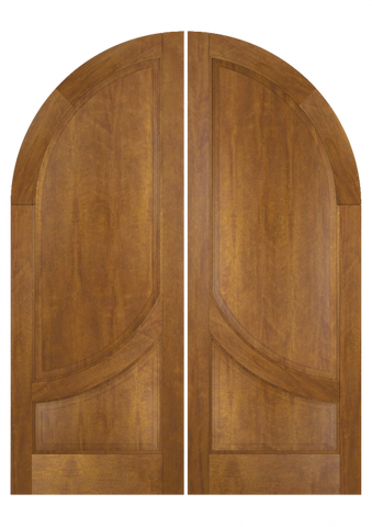 WDMA 84x84 Door (7ft by 7ft) Exterior Swing Mahogany 2 Panel 2/3 Round Top Solid Transitional Home Style or Interior Double Door 2