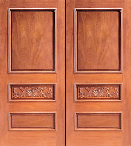 WDMA 84x96 Door (7ft by 8ft) Exterior Mahogany Double Door Hand Carved Colonial 3-Panel in  1