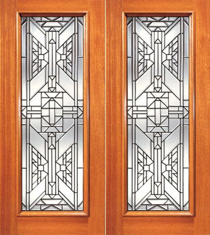 WDMA 84x96 Door (7ft by 8ft) Exterior Mahogany Ornate Design Beveled Glass Double Door Triple Glazed Glass Option 1