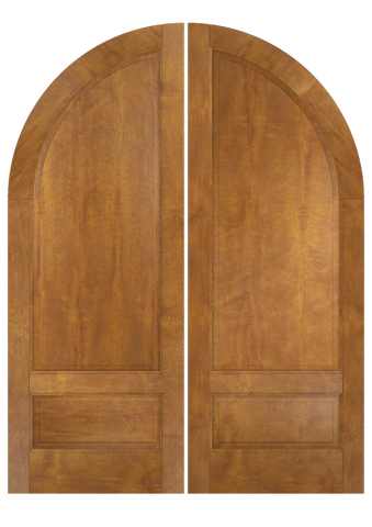 WDMA 84x96 Door (7ft by 8ft) Exterior Swing Mahogany 3/4 Round Top 2 Panel Transitional Home Style or Interior Double Door 2