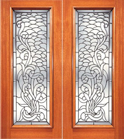 WDMA 84x96 Door (7ft by 8ft) Exterior Mahogany Full Lite Asymmetrical Floral Scrollwork Glass Double Door 1