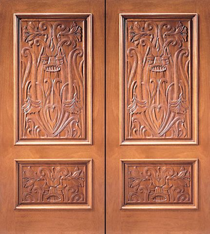 WDMA 84x96 Door (7ft by 8ft) Exterior Mahogany Double Door Colonial Hand Carved 2-Panel in  1