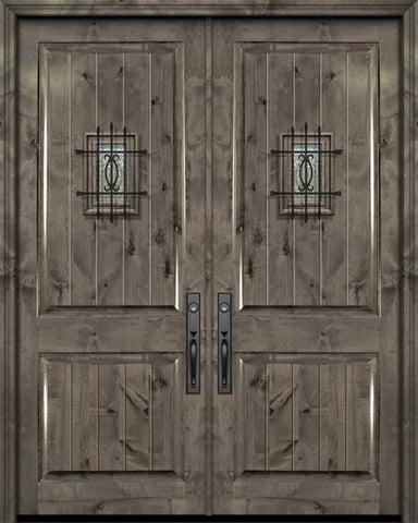 WDMA 84x96 Door (7ft by 8ft) Exterior Knotty Alder 42in x 96in Double 2 Panel V-Grooved Estancia Alder Door with Speakeasy 1